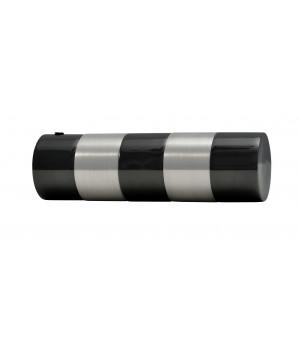 2 Embouts Cylindre bicolor nickel noir/brossé D19