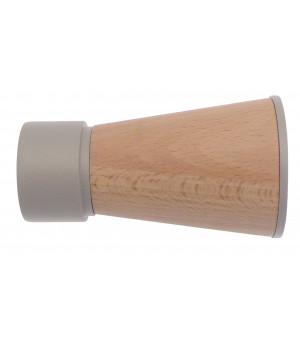 DESTOCK Embout Pommeau bois/métal gris grainé D28