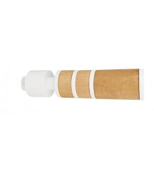 Lot 2 embouts Cylindre blanc mat/bois naturel  D20