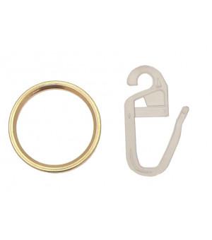 Lot de 10 anneaux et 10 agrafes décor laiton D10