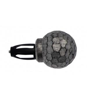 Embout Boule argent brossé noir D19
